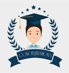 graduation card isolated icon vector image