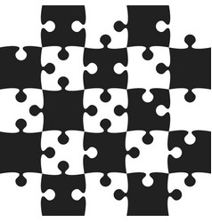 grey puzzle pieces black - jigsaw field chess vector image