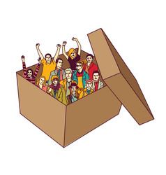 group happy business team people in box isolate vector image