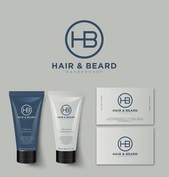 H b logo barbershop identity tubes mock up vector