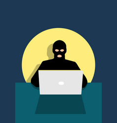 hacker behind laptop computer vector image