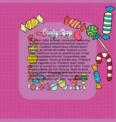 hand drawn candy shop template vector image