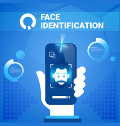 Hand hold smart phone face identification vector