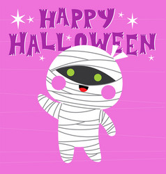 Happy halloween greeting card with cute character vector