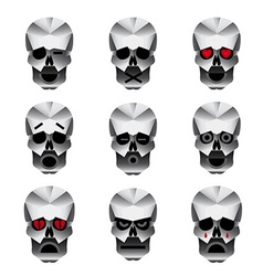 Happy skull emotion icons set vector image