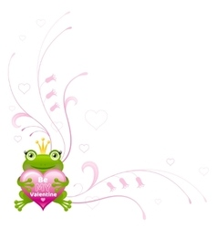 Happy Valentines day border Frog prince heart vector