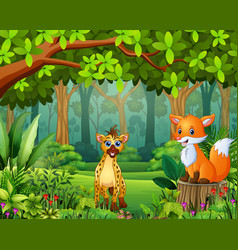 happy wild animal cartoon in a beautiful green for vector image