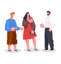 home reception conversation people on banquet vector image
