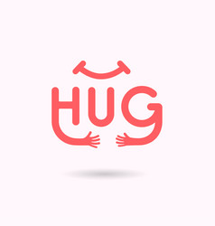 hug typographical and hand iconembrace or hug vector image