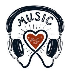i love music hand drawn headphones design element vector image