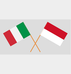 Indonesian and italian flags vector