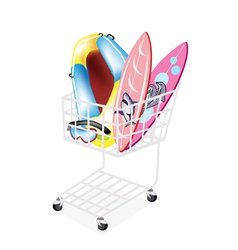 Inflatable Boat and Surfboards in Shopping Cart vector image