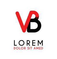 initial letter vb with red black and has rounded vector image