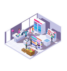 Isometric grocery store interior supermarket vector