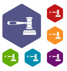 judge gavel icons set vector image