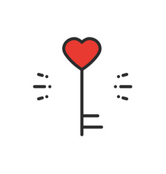 key line icon heart shape happy valentine day vector image