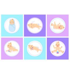 kid playing or sleeping baby in diaper vector image