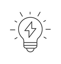 light bulb with thunder icon vector image