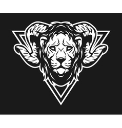 Lion with horns and geometric symbols vector