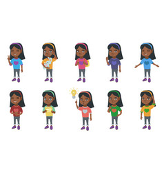 Little african girl set vector