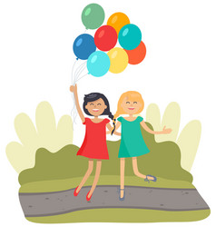 little girls with balloons jumping and smiling vector image