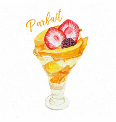 mango patfait dessert hand draw sketch water color vector image