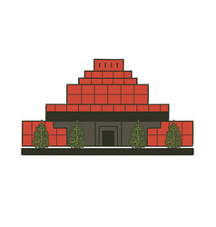Mausoleum with body lenin in moscow kremlin red vector