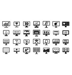 monitor icon set simple style vector image