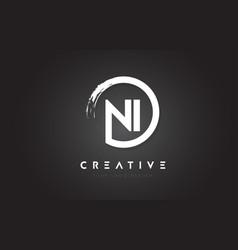 ni circular letter logo with circle brush design vector image
