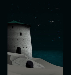 Night landscape with restored fortress on the vector