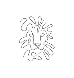 One line lion head design silhouette minimalism s vector