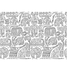 ornate elephants seamless pattern for your design vector image