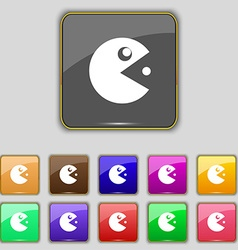 pac man icon sign Set with eleven colored buttons vector image