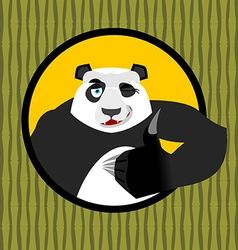Panda thumb up and winks Chinese bear all good vector image