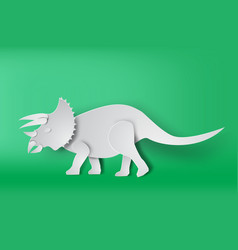 paper art of triceratops dinosour on green vector image