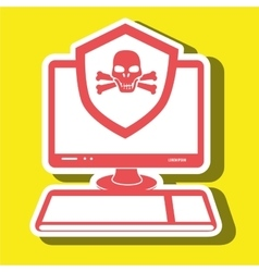 pc laptop virus icon vector image