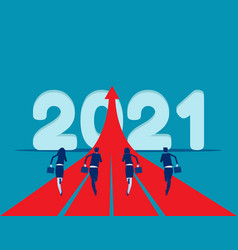 People running to 2021 start up a new to goal vector