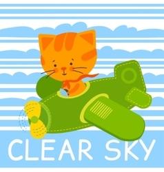Pilot cat vector image