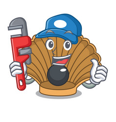 Plumber shell with pearl mascot cartoon vector