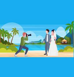 professional wedding photographer shooting vector image