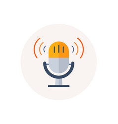 Retro microphone icon sound music or voice record vector