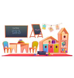 Room interior in montessori kindergarten vector