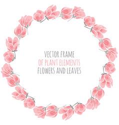 Round frame of delicate pink sakura vector