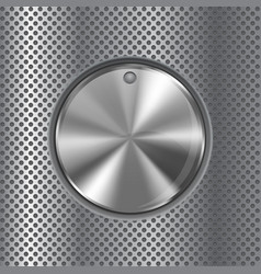 Round knob switch metal button on perforated vector