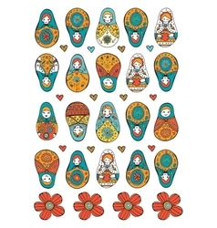Russian dolls colorful collection vector