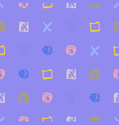 seamless hand drawn pattern with abstract shapes vector image
