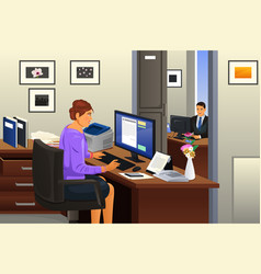 Secretary in the office vector