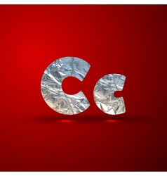 set of aluminum or silver foil letters letter c vector image