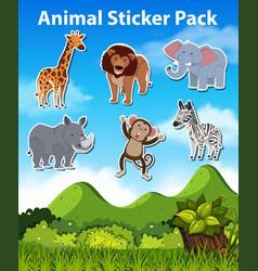 set of wild animal sticker vector image