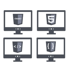set with shield html five tag and vector image